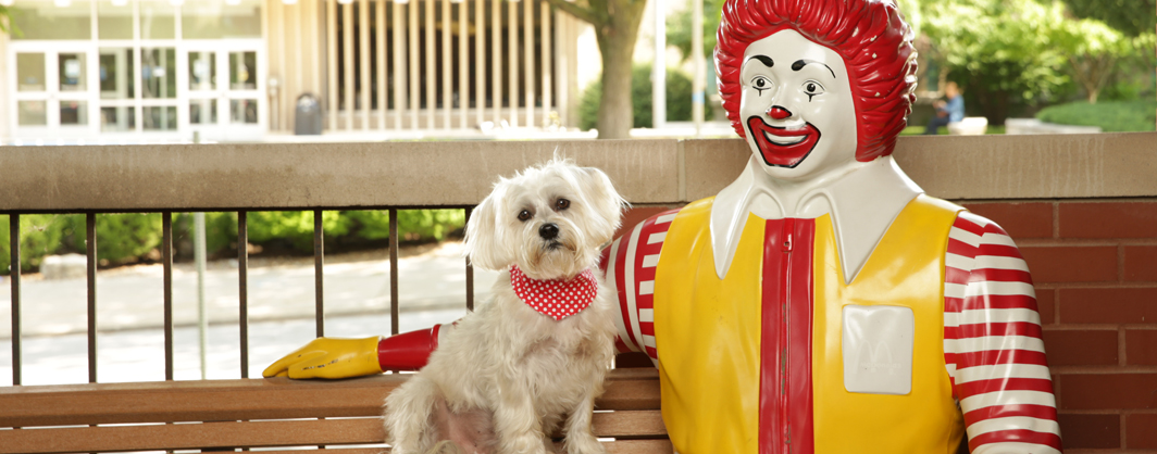 Mr. Bean sits with the Ronald McDonald statue outside of the Ronald McDonald House